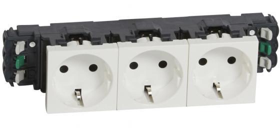 Купить Розетка LEGRAND Mosaic 3х2к+3 для установки в кабель-канале автоматические клеммы 77403, белый