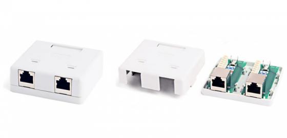 Розетка Hyperline SB2-2-8P8C-C5e-SH-WH RJ-45 двойная категория 5e внешняя кабель питания монитор системный блок 5 0м hyperline pwc iec13 iec14 5 0 bk