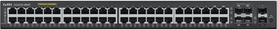 Коммутатор Zyxel GS2210-48HP управляемый 48 портов 10/100/1000Mbps 2xSFP маршрутизатор mikrotik ccr1036 8g 2s 8x10 100 1000mbps 2xsfp 1xmicrousb