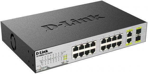 Коммутатор D-Link DES-1018MP/A1A неуправляемый 16 портов 10/100Mbps 2хCombo PoE+ коммутатор d link des 1016a e1b неуправляемый 16 портов 10 100mbps