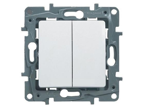 Выключатель Legrand ETIKA 2 клавиши 10АХ белый 672202 выключатель legrand quteo 10а 2 клавиши белый 782202