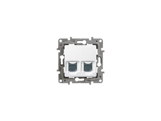 Розетка информационная Legrand Etika 2ХRJ45 к.6 UTP белый 672254 механизм выключателя legrand etika белый 2 клавишный 672202