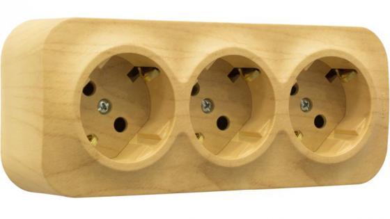 Розетка Legrand Quteo 3x2К+З с защитными шторками дерево 782278 выключатель двухклавишный наружный бежевый 10а quteo