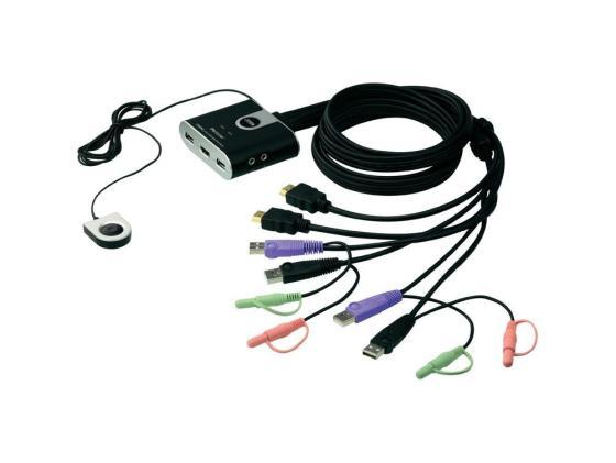Переключатель KVM ATEN CS692-AT/B переключатель kvm aten cs692 at kvm audio 1 user usb hdmi 2 cpu usb hdmi со встр шнурами usb audio 2x1 2м 1920x1200 настол исп стандарт