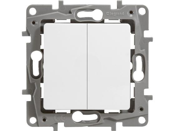 цена на Выключатель Legrand ETIKA 10АХ 2-клавишный с подсветкой белый 672204