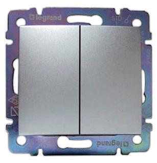 Выключатель Legrand Valena 2-клавишный алюминий 770105 выключатель legrand valena 2 клавишный алюминий 770105