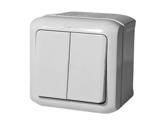 Выключатель Legrand Quteo 2-клавишный серый 782332 выключатель legrand quteo 10а 1 клавиша белый 782300