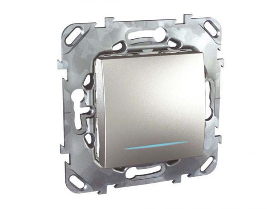 Выключатель Schneider Electric 1-клавишный с подсветкой серебристый MGU5.206.30NZD выключатель 3 клавишный schneider electric glossa титан