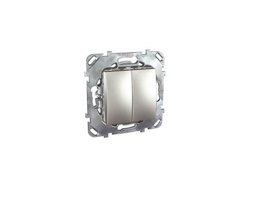 Выключатель Schneider Electric 2-клавишный серебристый MGU5.211.30ZD выключатель legrand quteo 2 клавишный серый 782332