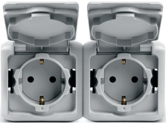 Розетка Legrand Quteo накладная 2X2К+З IP44 белый 782323 выключатель двухклавишный наружный бежевый 10а quteo