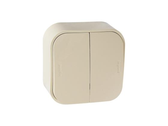 Выключатель Legrand Quteo 10А 2 клавиши слоновая кость 782232 выключатель 1 клавишный наружный белый 10а quteo