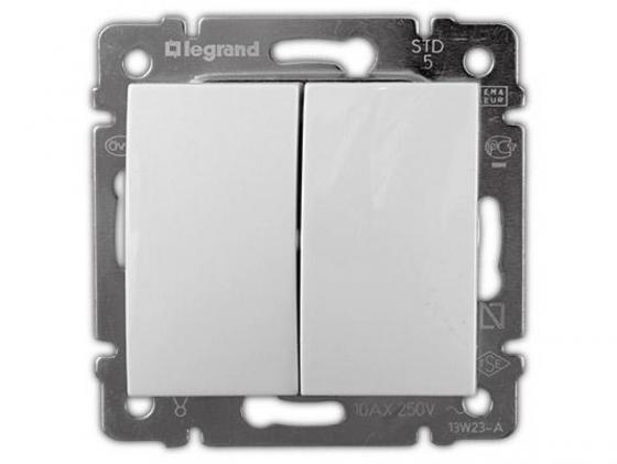Переключатель Legrand Valena двухклавишный белый 774408 выключатель двухклавишный наружный бежевый 10а quteo