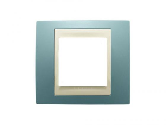Рамка 1 пост синий/бежевый Schneider Electric Unica MGU6.002.573  рамка трехместная schneider electric unica песчаная под бежевый механизм