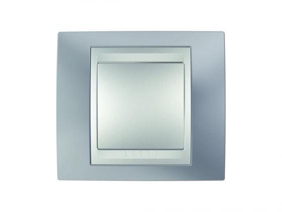 Рамка 1 пост серый/алюминий Schneider Electric Unica Top MGU66.002.097  рамка 3 пост лунный алюминий schneider electric mgu68 006 7a2