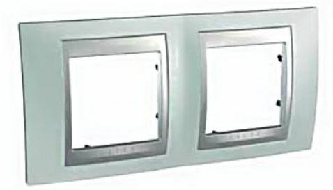 Рамка 2 пост флюорит/алюминий Schneider Electric Unica Top MGU66.004.094  рамка 3 пост лунный алюминий schneider electric mgu68 006 7a2