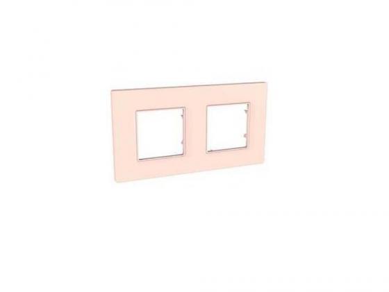 Рамка 2 пост розовый жемчуг Schneider Electric Unica Quadro MGU4.704.37 цена