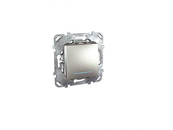 Выключатель Schneider Electric 1-клавишный с подсветкой алюминий MGU5.201.30NZD
