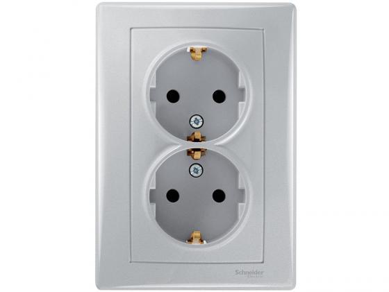 Розетка Schneider Electric электрическая двойная алюминий SDN3000660