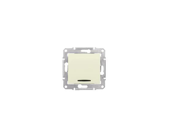 Выключатель Schneider Electric Sedna 1-клавишный с подсветкой бежевый SDN1400147 выключатель двухклавишный наружный бежевый 10а quteo
