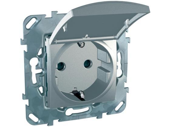 Розетка Schneider Electric с заземлением со шторками алюминий MGU5.037.30TAZD