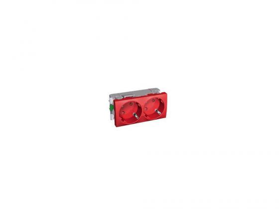 Розетка двойная Schneider Electric со шторками красный ALB45254