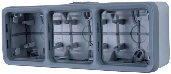 Монтажная коробка Legrand Plexo 3 поста серый 69680 коробка распределительная legrand plexo 40х40х60 мм цвет серый ip55