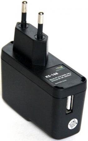 Сетевое зарядное устройство KS-is Qich KS-168 с кабелями microUSB Samsung TAB 2000мА черный