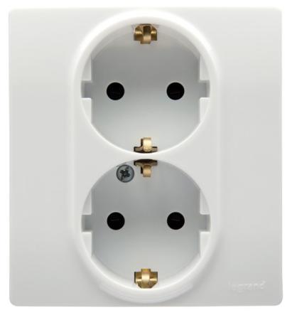 Розетка Legrand Etika 2X2К+З с защитными шторками белый 672233 механизм выключателя legrand etika белый 2 клавишный 672202