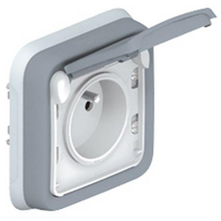 Розетка Legrand Plexo 2К+З нем. ст.винтовые зажимы серый 69833 монтажная коробка legrand plexo 1 пост белый 69689