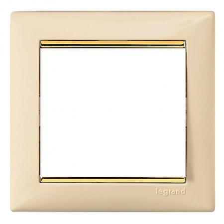 Рамка Legrand Valena 1 пост слоновая кость/золотой штрих 774151 рамка legrand valena life 1 пост алюминий 754241