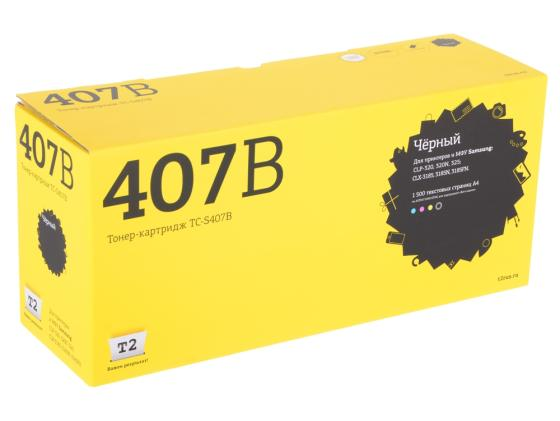 Картридж T2 CLT-K407B для Samsung CLP-320/325/CLX-3185 черный 1500стр картридж hp su388a clt p407c для clp 320 325 320n цветной