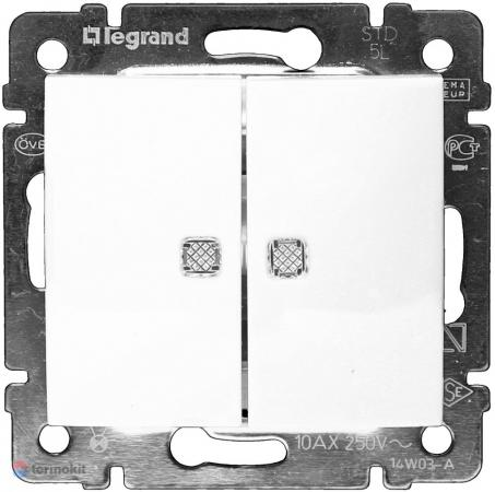 Переключатель Legrand Valena двухклавишный с подсветкой белый 774212 переключатель двухклавишный на 2 направления legrand valena 10a 250v белый 774408