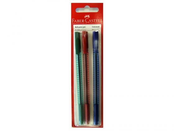 Шариковая ручка Faber-Castell Grip 2020 красный синий зеленый 3шт 263417