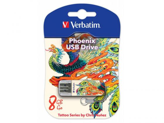 Флешка USB 8Gb Verbatim Store n Go Mini 49883 USB2.0 белый Tattoo Phoenix usb flash накопитель verbatim store n go mini tattoo koi