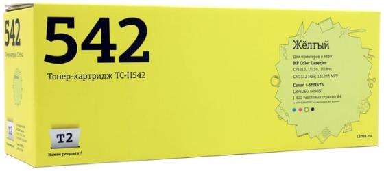 Картридж T2 CB542A для HP ColorLaserJet CP1215/CP1515n/CP1518n желтый с чипом 1400стр TC-H542 картридж hp cb542a