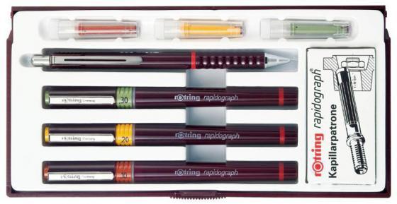 Набор рапидографов Rotring Combi Junior Set разноцветный 3 рапидографа (0.25, 0.35, 0.50 мм), карандаш Rotring Tikky 0.5 мм, 6 картриджей карандаш 0 3 мм