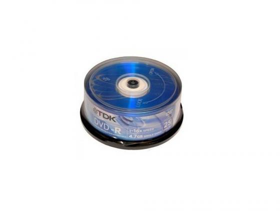 Диски DVD-R TDK 16x 4.7Gb CakeBox  25шт DVD-R47CBED25 19416 диски cd dvd thunis dvd r dvd r 16x 25