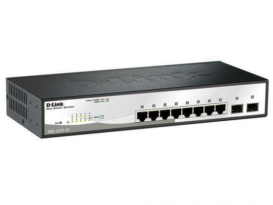 Коммутатор D-LINK DGS-1210-10/C1A/F1A управляемый 8 портов 10/100/1000Mbps 2xSFP коммутатор d link dgs 1210 52 c1a управляемый 48 портов 10 100 1000mbps 4 порта sfp