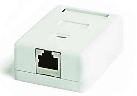 Розетка компьютерная Hyperline RJ-45(8P8C) кат.5e,экранированная одинарная внешняя SB2-1-8P8C-C5e-SH-WH кабель питания монитор системный блок 5 0м hyperline pwc iec13 iec14 5 0 bk