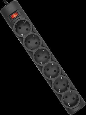 Сетевой фильтр DEFENDER DFS 155 6 розеток 5 м черный 99496 сетевой фильтр defender dfs 155 99496 6 розеток 5 м с з 2200 вт