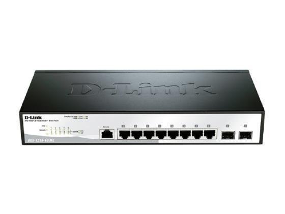Коммутатор D-LINK DGS-1210-10/ME/A1A управляемый 8 портов 10/100/1000Base-T PoE 2x combo 10/100/1000BASE-T/SFP коммутатор d link 8 ports 10 100 mbps poe 8 ports 10 100 mbps 2 10 100 1000base t sfp combo ports unmanaged switch