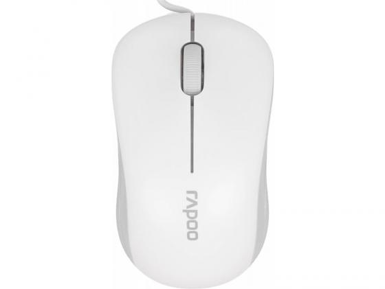Мышь RAPOO N1130 белый USB 13743 мышь rapoo n1162 белый