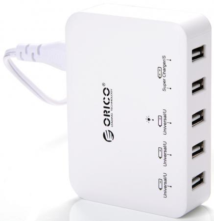 Сетевое зарядное устройство Orico DCAP-5S-WH 5xUSB белый зарядное устройство для мобильных телефонов orico dcap 5u bk 5 usb ce fcc 3c rohs dcap 5u bk