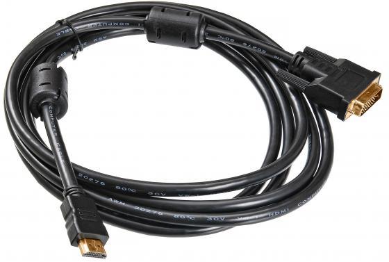 Кабель HDMI-DVI-D 1.8м Buro позолоченные контакты ферритовые кольца HDMI-19M-DVI-D-1.8M 817223 адаптер переходник aopen dvi d 25f to hdmi 19m aca311 позолоченные контакты