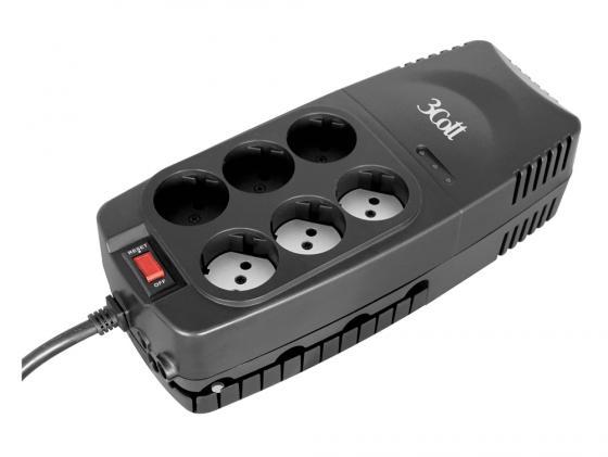 Стабилизатор напряжения 3Cott 2000VA-AVR 6 розеток черный