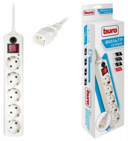 Сетевой фильтр BURO 500SH-1.8-UPS-W 5 розеток 1.8 м белый