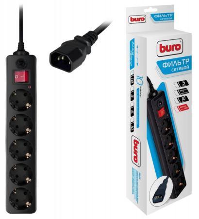 Сетевой фильтр BURO 500SH-1.8-UPS-B 5 розеток 1.8 м черный сетевой фильтр buro 500sh 1 8 b 5 розеток black