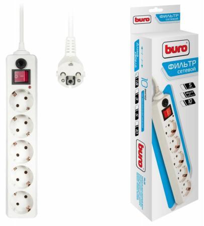 Сетевой фильтр BURO 500SH-1.8-W 5 розеток 1.8 м белый