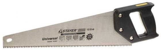Ножовка Stayer Universal по дереву крупный зуб двухкомпонентная рукоятка 1510-40_z01