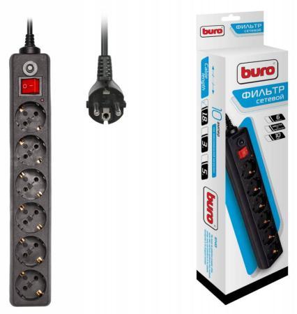 Сетевой фильтр BURO 600SH-1.8-B 6 розеток 1.8 м черный